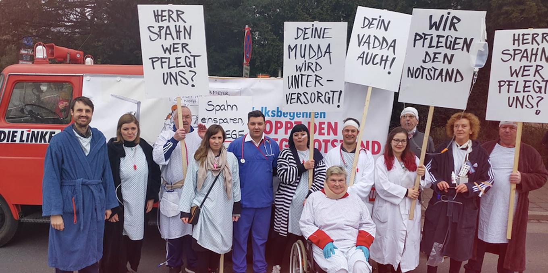 DIE LINKE Stoppt den Pflegenotstand, Volksbegehren Bayern