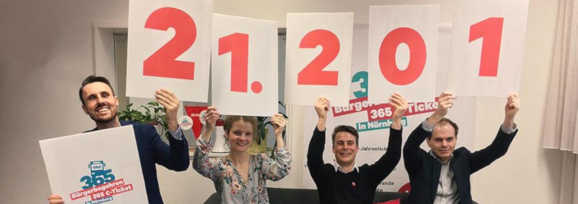Headerbild - Initiatoren mit Schildern für Anzahl der gesammelten Unterschriften